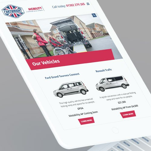 Cartwright mobility website responsive tablet