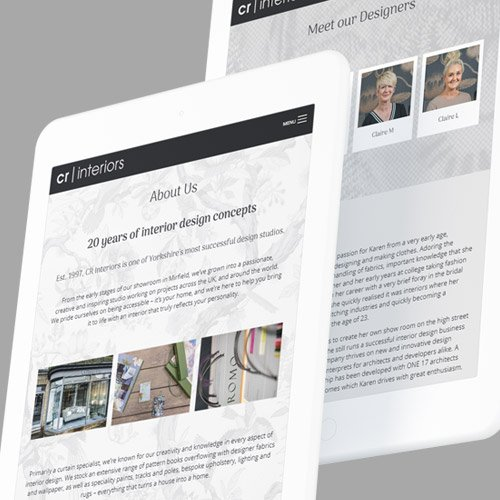 Web design for CR Interiors - a West Yorkshire interior designer