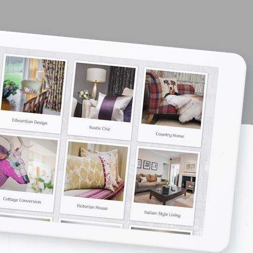 Product page for interior designer website