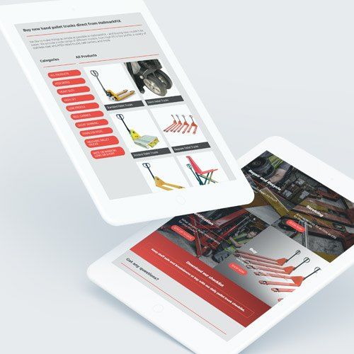 Industrial business website on mobile