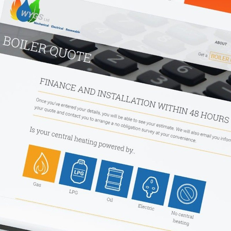 WYGS - Web design for plumbing, heating and renewable energy services with bespoke quoting tool